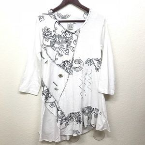 Parsley & Sage Embroidered Tunic Top White M